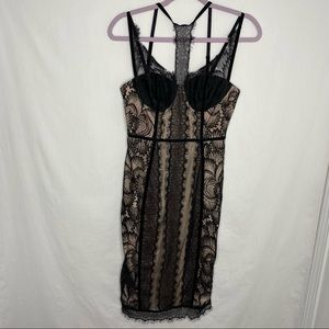Nasty Gal collection black lace slip dress S